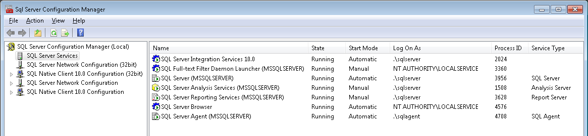 Screenshot of SQL services running