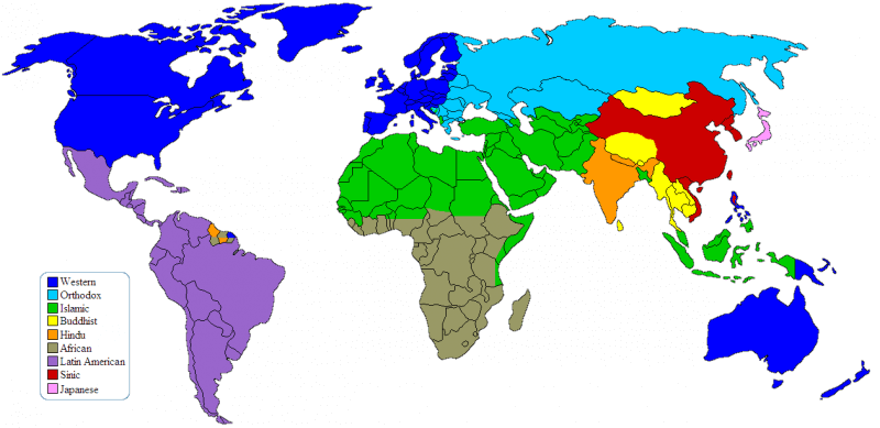 world map -- clash of civilizations
